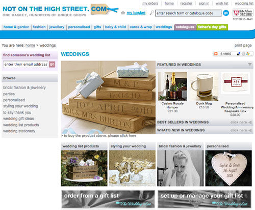 notonthehighstreet Wedding Section