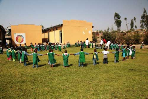 Children enjoying play activity at the Nicolas Kindergarten (2008)