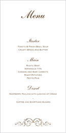 Formal wedding stationery menu