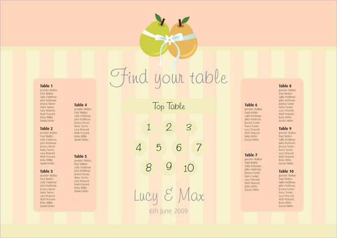 Tying the Knot wedding stationery table plan