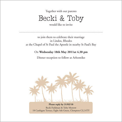 the beach wedding stationery collection by pink polar With wedding invitations writing inside