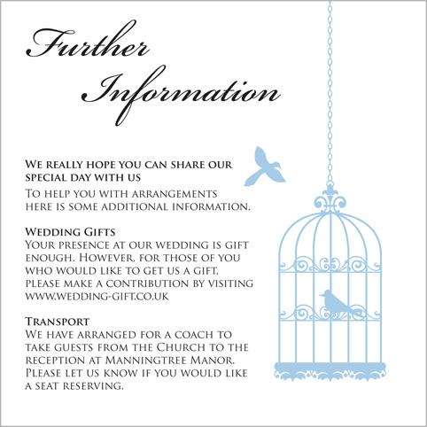 The birdcage wedding stationery collection by pink polar for Wedding invitations with information inserts