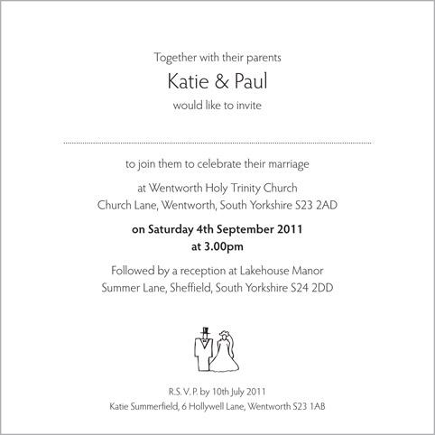 Bride Groom Wedding Stationery Invitation Inside