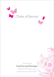 Butterfly wedding stationery order of service