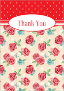 Vintage Rose wedding stationery thank you card