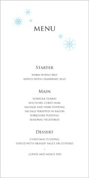 Winter Wonderland wedding stationery menu