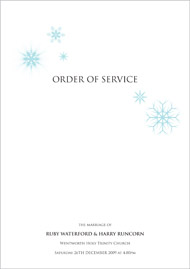Winter Wonderland wedding stationery order of service